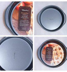 Loyang kue bentuk bulat anti lengket ini adalah baking pan dengan lapisan teflon yang dapat digunakan untuk cetakan kue bolu.
