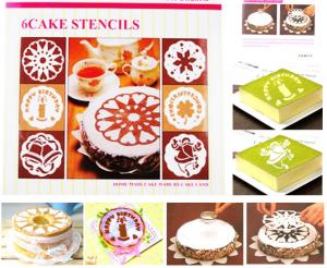 Motif Cake Stencil Isi 6 Pcs Kualitas Food Grade ini sangat variatif, sehingga meningkatkan seni desain dekorasi kue tart anda selain menggunakan butter cream. (1)