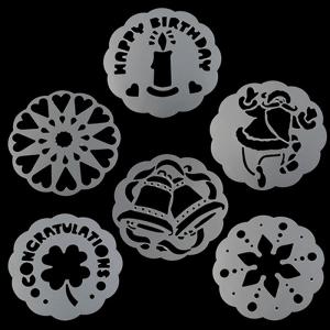 Motif Cake Stencil Isi 6 Pcs Kualitas Food Grade ini sangat variatif, sehingga meningkatkan seni desain dekorasi kue tart anda selain menggunakan butter cream. (4)